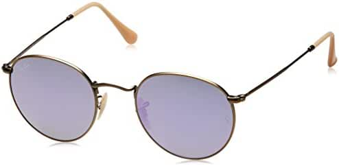 Ray-Ban ROUND METAL - DEMIGLOS BRUSCHED BRONZE Frame LILLAC MIRROR Lenses 50mm Non-Polarized