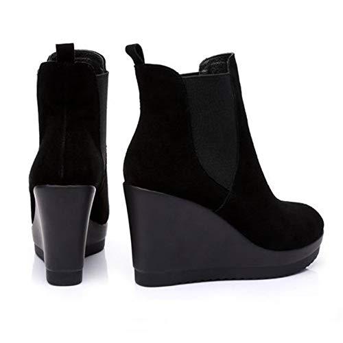 PINGXIANNV Leder Ankle Ferse Stiefel Antumn Winter Stil Stiefeletten Für Für Für Frauen Stiefel Wedges Stiefel Damenschuhe b2417d