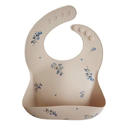 Mushie Silicone Baby Bib | Adjustable Fit Waterproof Bibs (Lilac Flowers)