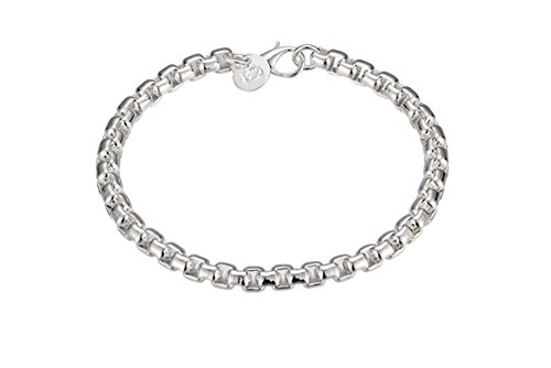 NA BEAUTY Sterling Silver Chain Link Bracelet 8' with Lobster Clasp for Closure. Simple and Fashion.