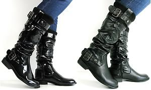 cc2c208afac61 New Ladies Womans Wide Calf Knee High Flat Black/Patent Ruched ...