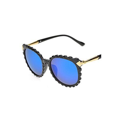 de en nuances pour soleil lunettes unisexe lunettes designer bordées cadre hommes conduite la et plastique de UV ondulée protection nouveauté Personnalité forme lunettes Bleu de de lun soleil femmes soleil qwTUzOEx