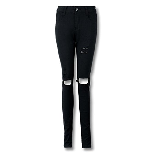 VEZAD Cool Ripped Knee Cut Skinny Long Jeans Pants Women Slim Pencil Trousers ()