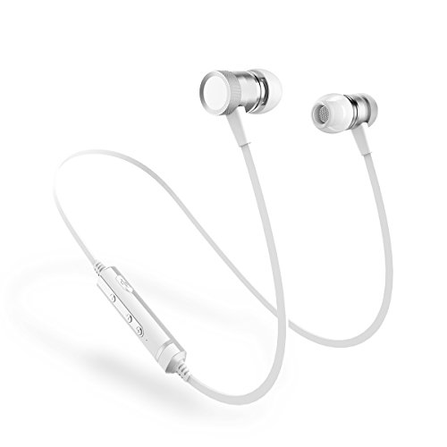 Headphone Silver Sports (Picun H6 Bluetooth Headset Wireless Sports Sweatproof Headphones Magnetic Design Noise Cancelling Earbuds with Mic Stereo Bass Sports Earphones Hands-free for Android/iOS/PC/Bluetooth Devices (Silver))