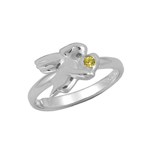 Silver Simulated November Birthstone Girls Angel Ring Adjustable Size 3 To ()