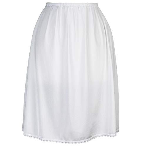 Valair Women's Classic Half Slip Skirt Dress Ladies Girls - Slight Flare - Anti Static White