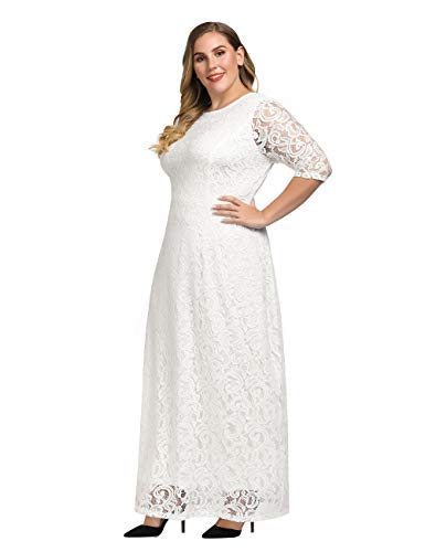 97225629e3b Chicwe Women s Plus Size Stretch Lace Maxi Dress - Evening Wedding Cocktail  Party Dress