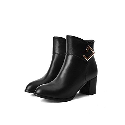 Women's Toe Low Allhqfashion Solid Material Closed Heels Black Soft Top Boots Round Kitten XUqgdw