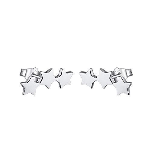 925 Sterling Silver Hypoallergenic Climber Ear Cuff Star Stud Earrings for Women Girls