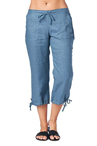 - Mariyaab Women's Wide Leg Casual 100% Linen Capri Pants with Drawstring and Leg tie (1411, DenimBlue, 6)
