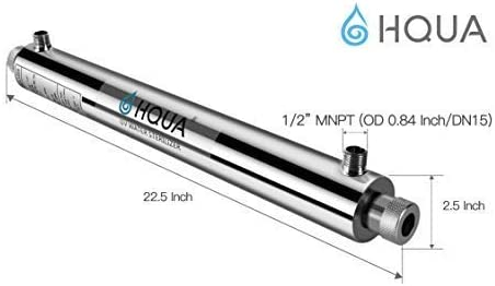 HQUA-OWS-6 Ultraviolet Water Purifier Sterilizer Filter for Kitchen Water Purification,6GPM 110V 25W Model HQUA-UV-6GPM 1 Extra UV Tube