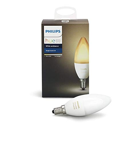 (Philips Hue White Ambiance E12 Decorative Candle 6W Equivalent Dimmable LED Smart Bulb (Compatible with Amazon Alexa Apple HomeKit and Google Assistant) (Renewed))