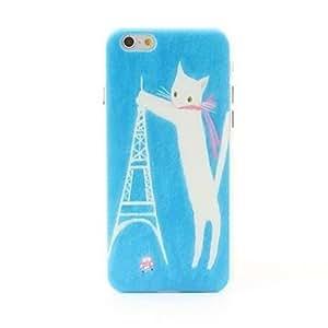 ZMY caso trasero duro gato y estilo torre grano litchi para el iphone 6