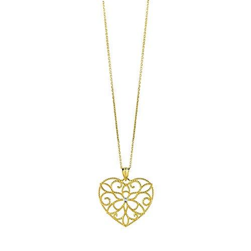 Jaune 14 carats 45 cm pendentif JewelryWeb Diamondheart bruts