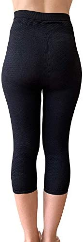 BIOFLECT® Compression Capri Leggings with Far Infrared Therapy and Micro-Massage Knit - Slimming Support and Comfort - Lipedema, Lymphedema, Inflammation - Black 4XL 2
