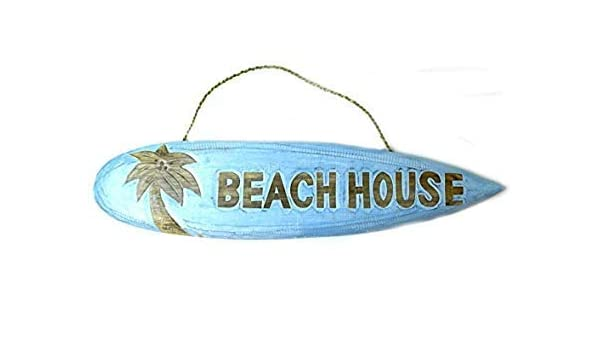 Amazon.com: WoodenSign 18×60cmLetrero de Tabla de Surf con Texto en Inglés Beachh House y Texto en Inglés Nautical Rústic cb677195: Home & Kitchen