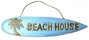 Amazon.com: WoodenSign 18×60cmLetrero de Tabla de Surf con Texto en Inglés Beachh House y Texto en Inglés Nautical Rústic cb677195: Home & Kitchen