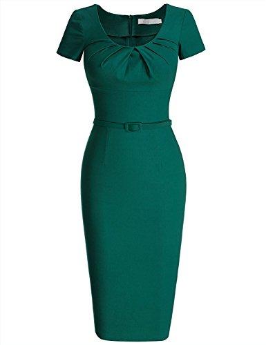 MCEOO Women's Vintage Short Sleeve Pleated Pencil Dress Dark GreenXX-Large Suitable
