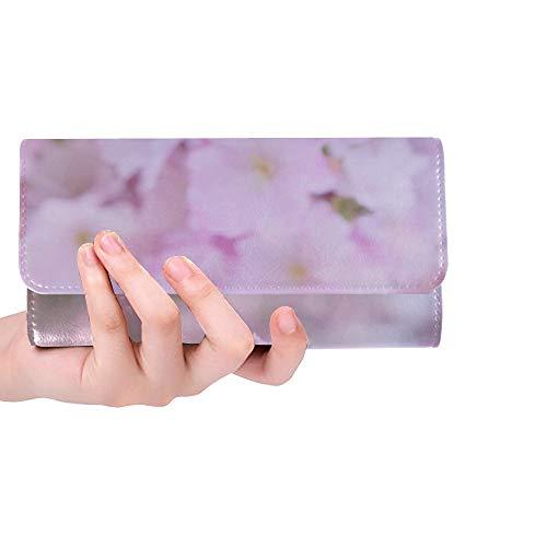 (Unique Custom Pink Lilac Flowers Cherry Blossom Women Trifold Wallet Long Purse Credit Card Holder Case Handbag)