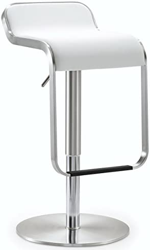 Tov Furniture Napoli Collection Adjustable Height Backless Swivel Stainless Steel Metal Industrial Bar Stool