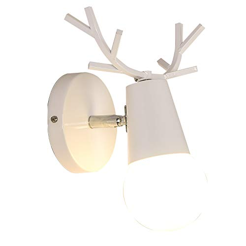 (INJUICY Antlers Vintage Wooden Wall Lamps, Minimalist E27 Wall Sconces with Wooden & Matel Base for Living Room, Bedrooms, Bedside (D) )