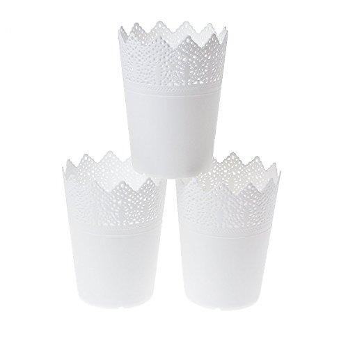 Saim Desktop Organizers Fashionable Desk Supplies Holders & Dispensers Lace Edge Plastic Make up Brushes Pen Pencil Pot Holder Dries Flower Fake Flower Container, 3Pcs, White