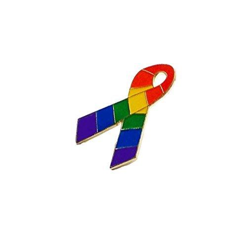 Gay Pride Awareness Ribbon Friendship Rainbow Lapel Pin LGBT Gift Support (Ribbon Pin Support Lapel)