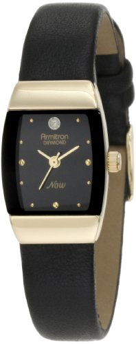 Armitron Women's 75/3594BKBK Gold-Tone Diamond-Accented Watch with Black Leather Band