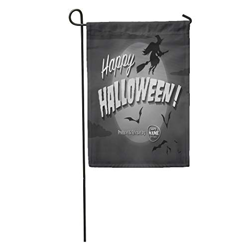 Semtomn Garden Flag Retro Movie Ending Screen Happy Halloween Vintage Witch Scary October Home Yard House Decor Barnner Outdoor Stand 28x40 Inches Flag]()