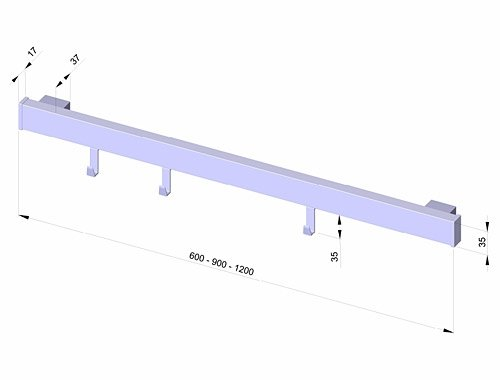 Naber Alto Set Relingsystem 900 mm edelstahlfarbig