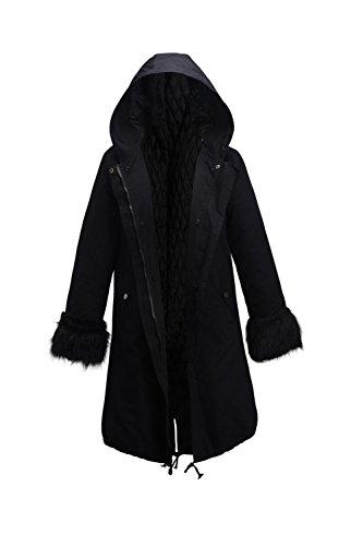 Black Abajo Con Chaqueta Capa Mujer Capucha Caliente De Fur Parkas Forrado Espesar Casual Faux Invierno Externa La Suelto xTqPwY1HP
