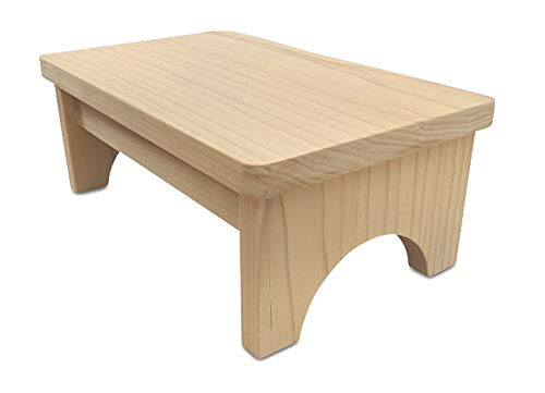 HollandCraft - 6 Wooden Foot Stool - Unfinished - Hidden Wood Dowels (No Screws, Staples or Nails) HC-Unfinished Pine