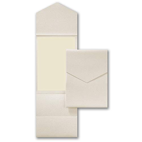 Ecru Shimmer Wedding Party Invitation Pocket, with Ecru Envelopes and Ecru Card Printable Inserts, Pack of 20