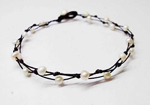 White freshwater pearl 4 mm beads anklets real pearl anklets wedding anklets white anklets friendship anklets women anklets gift anklets