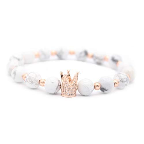 13093f4e890d3 Gemfeel 8mm Black Labradorite & White Howlite CZ Her King/His Queen 8mm  Beads Couple Bracelet, 7.6