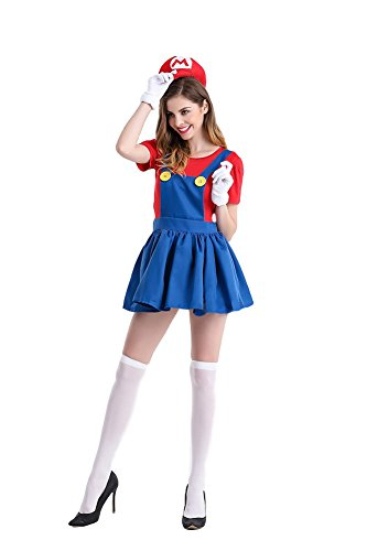Asian Couple Costume Ideas ([GRACES]Mario And Luigi Woman Skirt Costume (L, Mario))