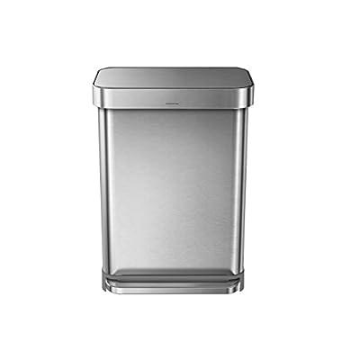 simplehuman Liner Rim Rectangular Step Trash Can with Liner Pocket, Stainless Steel, 55 Liter / 14.5 Gallon