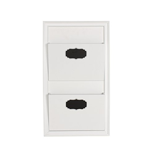 DesignOvation Walcott Decorative Wall Organizer Mail Holder with Two Pockets White