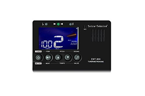 - Tetra-Teknica Essential Series EMT-800 LCD Display 3in1 Digital Metronome, Tuner and Tone Generator for Chromatic, Guitar, Bass, Ukulele, Violin, 30-260 BPM, 9 Rhythms, 0-9 Beats