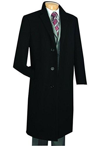 Venci Vinci 3 Botton Single Breated Cashmere Wool Overcoat CL48-1-Black-38R Cashmere 3 Button
