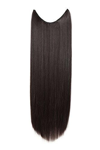 "OneDor 24"" Straight Synthetic Hair Extensions - Transparent wire / No clips (24"" Straight, Dark Brown-4#)"