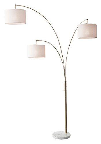 """Adesso 4250-21 Bowery 83"""" Arm 3-Light Arc Lamp, Antique Brass, Smart Outlet Compatible"""