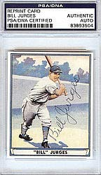 Bill Jurges Signed Playball Reprint Trading Card #59 New York Giants - PSA/DNA Authentication - Autographed MLB Baseball Cards from Sports Collectibles Online