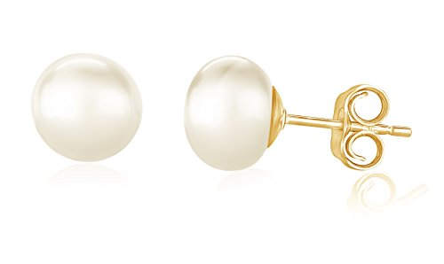 14K Yellow Gold White Freshwater AAA Quality Cultured Pearl Button Stud Earring for Women (9-10mm)
