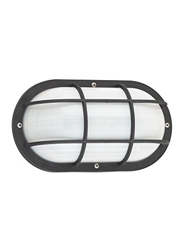 Sea Gull Lighting 89806EN3-12 Bayside - One Light Outdoor Wall Lantern, Black Finish with Frosted Ribbed Glass (Ribbed Frosted Glass Wall Lantern)