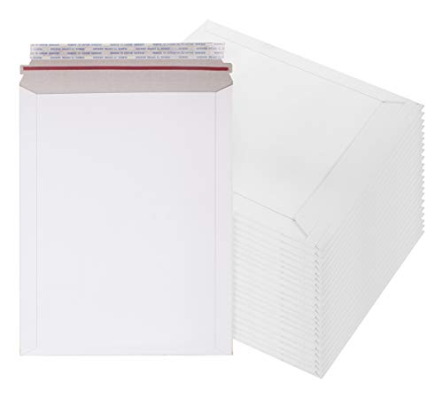 Rigid Mailers 9 x 11.5 Paperboard mailers 9 x 11 1/2 by Amiff. Pack of 20 white photo mailers. Stay Flat mailers. No bend, Self sealing. Documents chipboard envelopes. Mailing, shipping, packaging.