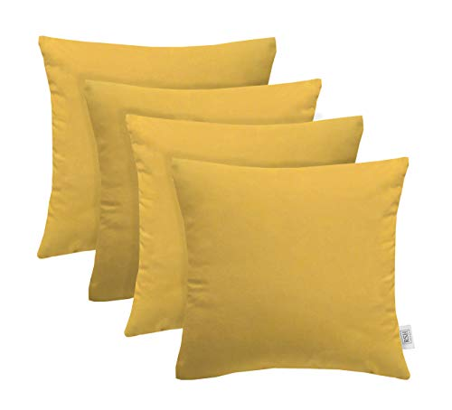 (RSH Décor Set of 4 Indoor/Outdoor Square Throw Pillows Sunbrella Canvas Buttercup Yellow (20