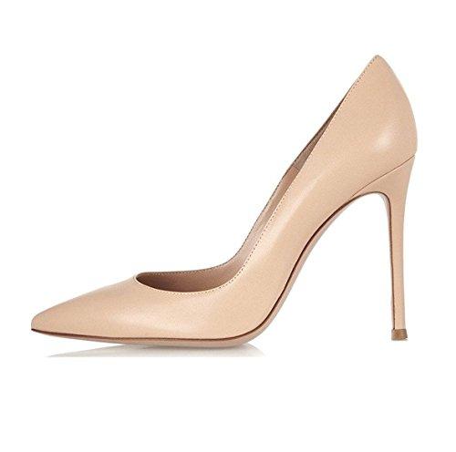 Zehe Spitze Schuhe Nude High Stiletto Damen Heels EDEFS Pumps Klassische CqZWaww7n