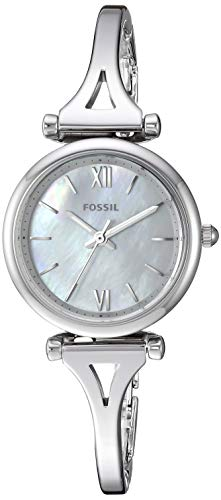 Fossil Women Mini Carlie Quartz Stainless Steel and Stainless Casual Watch Color: Silver, Silver (Model: ES4501) - Fossil White Mother Of Pearl