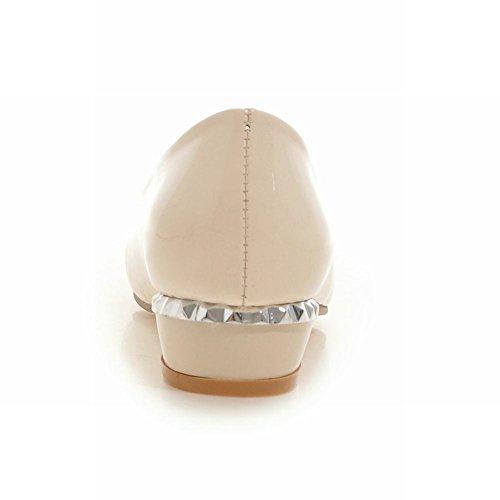 Latasa Femmes Mignonne Orteil Perlé Faible Chunky Talon Robe Pompes Chaussures Beige
